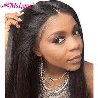 Mslynn Lace Front Human Hair Wigs For Women Brazilian Straight Hair Wigs Pre Plucked With Baby Hair Lace Wig Remy Natural Black