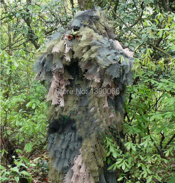 Sniper Tactical camouflage 3D Jungle Ghillie Suits Hunting clothes camo suit hunting equipment for bow hunt military camouflage ghillie suit woodland grass hay style paintball leaf jungle sniper clothes hunting tactical shade clothing