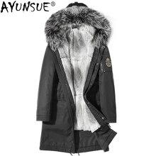AYUNSUE натуральный мех пальто Мужская Зимняя Куртка парка Homme натуральный Лисий мех воротник кролик Мех Лайнер Большие размеры пальто мужская одежда KJ1242