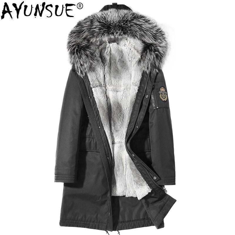 AYUNSUE abrigo de piel Real para hombre chaqueta de invierno Parka Homme cuello de piel de zorro Real forro de piel de conejo abrigos talla grande ropa para hombre KJ1242