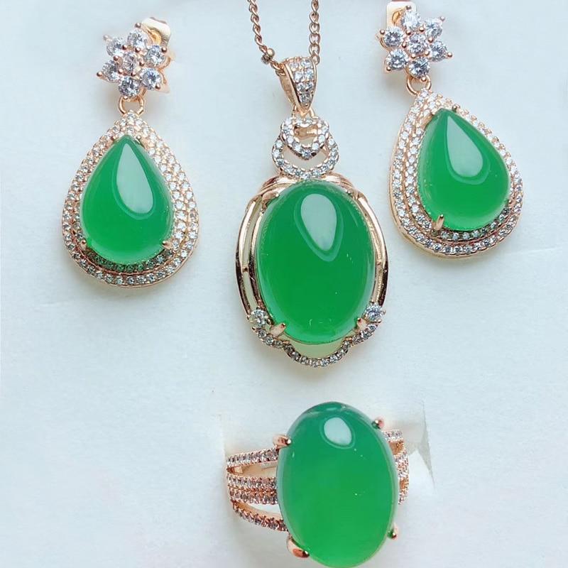 Bijoux fins naturel 925 argent calcédoine vert rouge bleu ensembles de bijoux collier boucles d'oreilles anneau pour femmes bijoux de fête