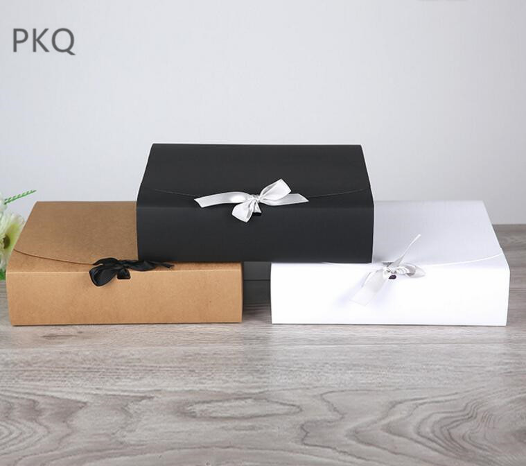 Large Paper Box 31*25.5*8cm White Black Brown Packaging Box Big Sizes Kraft Paper Box For Shoes Clothing Packaging Gift Boxes