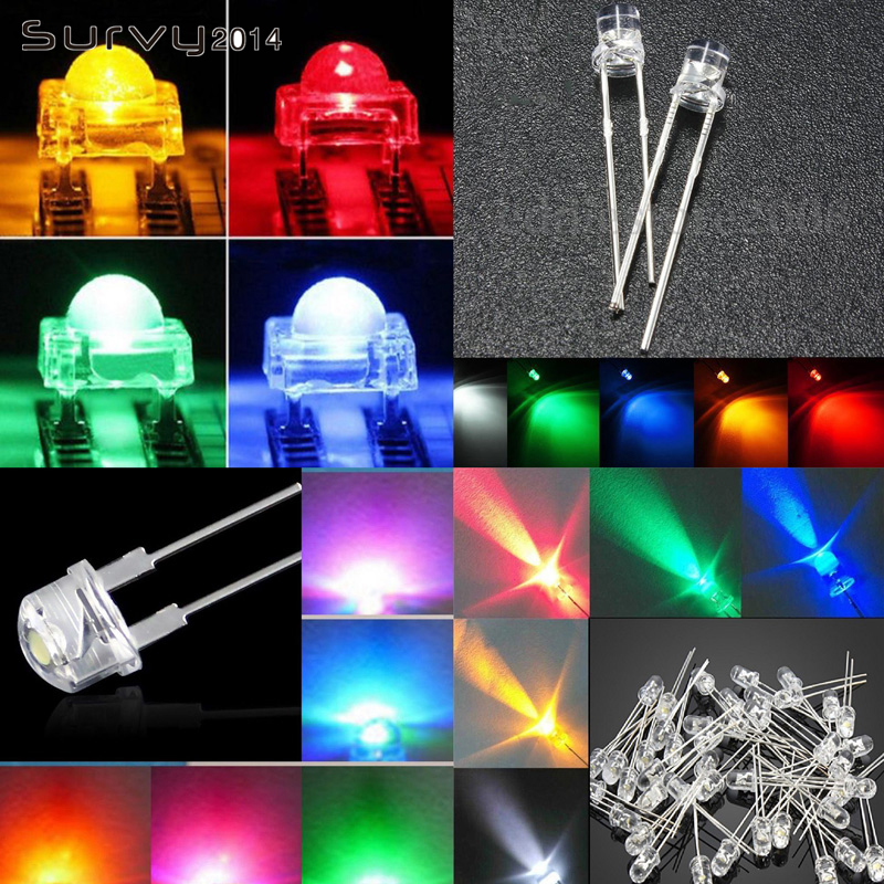 Electronic Components & Supplies Active Components 50/100pcs F5 Led 5mm Straw Hat Yellow/blue/green/red/pink/white/orange Color Clear Wide Angle Light Lamp An Enriches And Nutrient For The Liver And Kidney