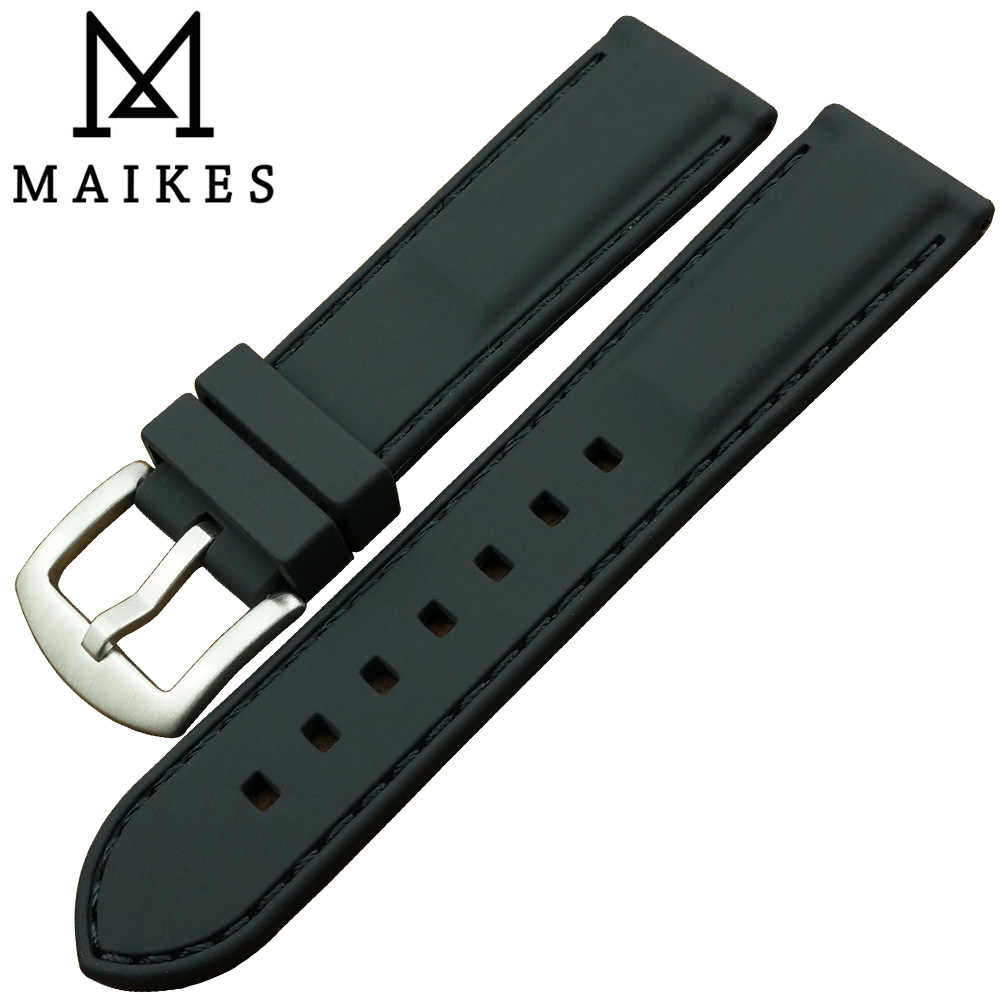 MAIKES New Arrival  20MM High Quality Black Silicone Rubber Strap Fashion Casual Design Chrono Watch Band