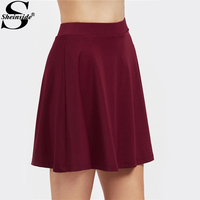Sheinside Elastic Band Waist Flowy Skirt Women Burgundy Cute A Line Flared Skirt 2017 Casual Short Skirt For Ladies