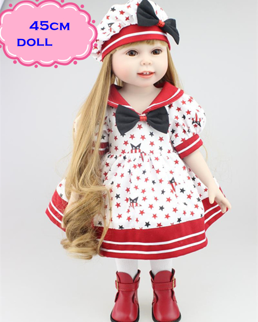 ФОТО 18inch Pretty NPK Full Vinyl American Girl Doll With Long Hair Safe Handmade Full Silicone Reborn Baby Dolls For Kids Best Gifts