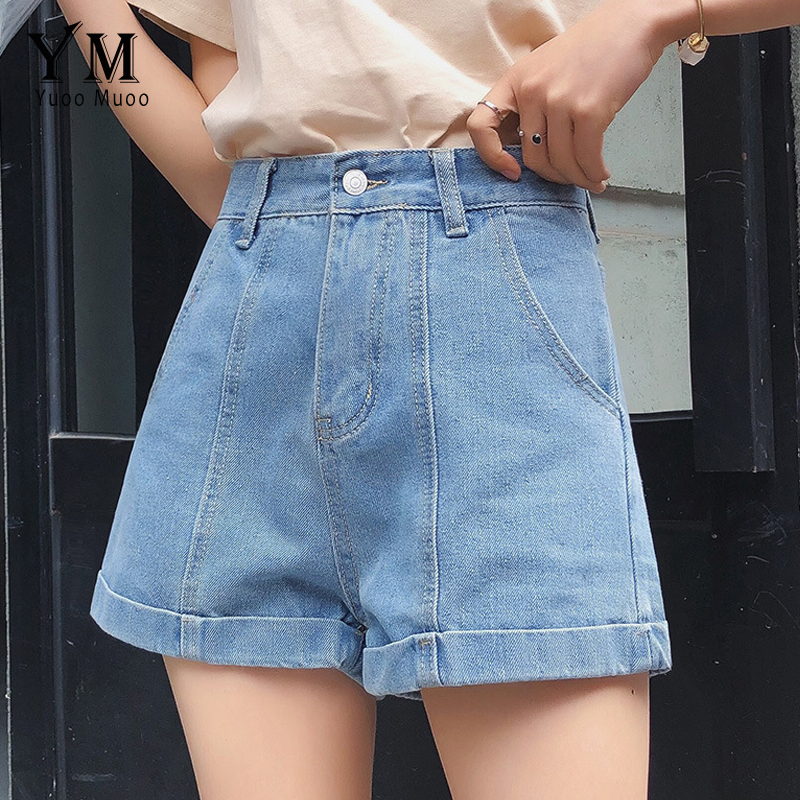 YuooMuoo High Waist Denim Shorts For Women 2019 Euro Style Vintage Cuffed Shorts Jeans Women Wide Leg Casual Shorts Feminino