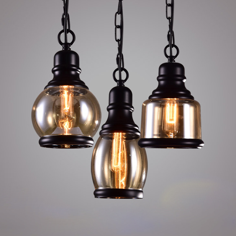 American Retro Style Glass Pendant Lamp Vintage Industrial Black Hanging Chain Glass Lampshade Lighting Fixture for Bar Loft vintage pendant light exotic colored glass lampshade modern industrial bar christmas tree bedroom antique fixture retro loft page 10