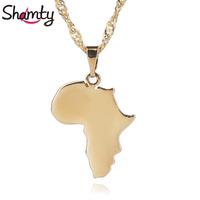 Shamty New Gold Color Jewelry Africa Map Necklace Pendant Brand Fashion Jewelry D30099