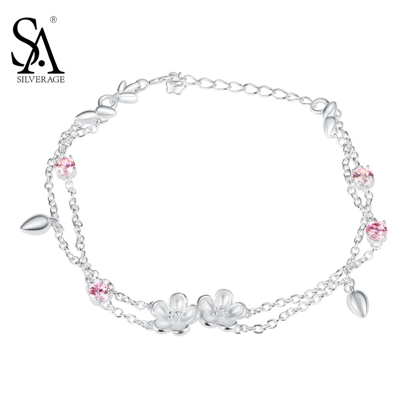 SA SILVERAGE Real 925 Sterling Silver Bracelet for Women Link Chain Flower With Pink CZ Charm Bracelets for Girl Friend gw jewelry 925 silver foot chain butterfly and flower girl pink anklet chain 925 pure real silver anklet ac002h20