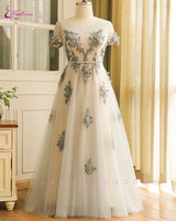 Waulizane Plus Size Scoop A Line Wedding Dresses Sashes Beading 3D Appliques Lace Up Elegant Bride