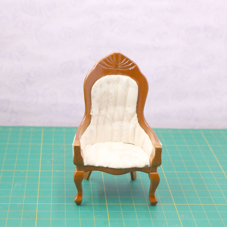 G07-X081 children baby gift Toy 1:12 Dollhouse mini Furniture Miniature rement Doll accessories wooden High back chair D192 1pcs