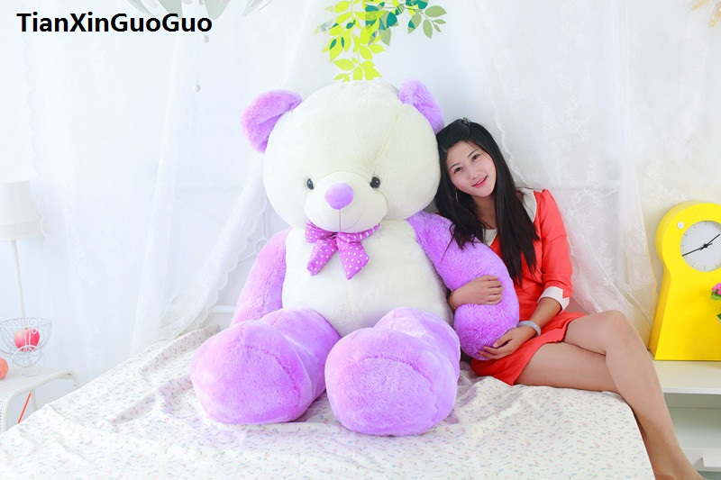 цена на stuffed toy large 120cm teddy bear soft plush toy purple&white bear soft doll throw pillow birthday gift s0390