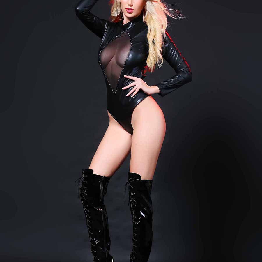 Sexy Costume Erotic Lingerie Latex Bodysuit PVC Catsuit Fishnet Mesh Faux Leather Erotic Leotard Costumes High Cut Bodysuit in Teddies Bodysuits from Novelty Special Use