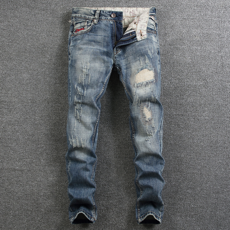 цена на Italian Style Mens Jeans High Quality Slim Fit Frayed Hole Ripped Jeans For Men Patchwork Denim Pants Brand Biker Jeans Homme