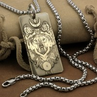 High Detail Deep Engraved Brass Indian Wolf Dogtag Biker Pendant 9X031BA 24