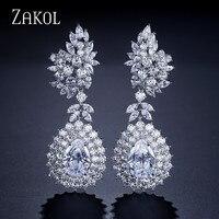 ZAKOL Luxury Brand Jewelry Brilliant Water Drop Cubic Zirconia Big Drop Earrings For Women Wedding Jewelry