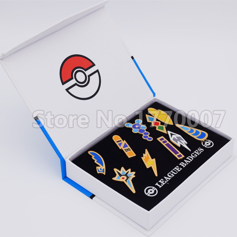 Pokemon Gym Badges Unova Region League Pins Brooches New in Box Collection Gift