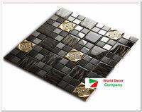 High Quality New 1BOX(11sheets) Black Metal Crystal Glass 3D Mosaic Tile Wall tile kitchen backsplash ceiling tile Free shipping