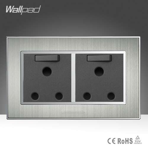 New Arrival 146 Standard 15A Socket Wallpad Stainess Steel AC 110-250V Double 15A Wall UK Soutch Africa Switched Socket Plug 146 double 13a uk switched socket wallpad crystal glass panel 110v 250v 146 86mm uk standard wall socket plug power outlet