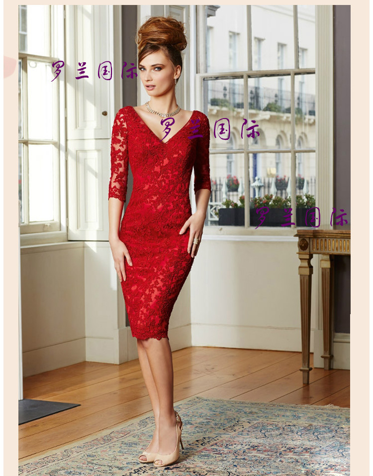 Free Shipping Sexy Backless Sleeves Vestido De Renda Robe De Soiree 2016 New Fashionable Red Lace Short Party Evening Dress