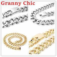 Granny Chic Men's Chain 316L Stainless Steel Necklace or Bracelet for Women Men Silver Gold Curb Cuban Link Hiphop Jewelry