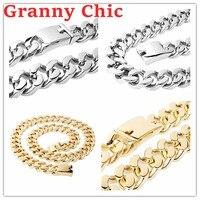 Granny Chic mannen Chain 316L Rvs Ketting of Armband voor Vrouwen Mannen Zilver Goud Curb Cubaanse Link Hiphop sieraden