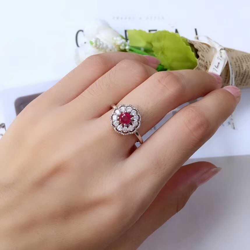 MeiBaPJ ธรรมชาติทับทิมอัญมณี 925 เงินต่างหูแหวนสร้อยคอจี้ 3 ชุด Fine งานแต่งงานชุดเครื่องประดับสำหรับผู้หญิง