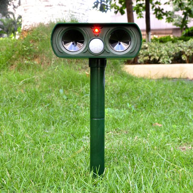 2016 High Quality Green Garden Cat Dog Pest Repeller Solar Power Ultra Sonic Scarer Frighten Animal Repellent Outdoor Use