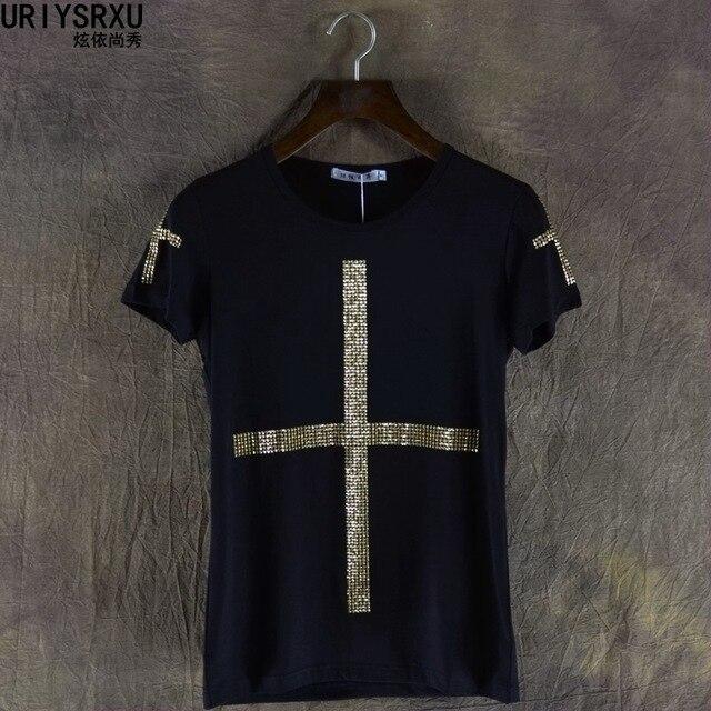 Dance Leisure Clothes Men Fashion Short Sleeve T Shirt Unique Personality Cross Decoration Cultivate One Morality Garments
