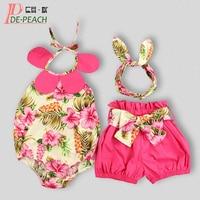 Cute Baby Clothing Sets New Baby Girl Outfit Fashion Sleeveless Bodysuit Short Headband New Year Tracksuit