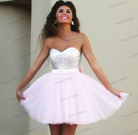 Cheap Hot Sale Short Prom Dresses Sweetheart Top Sequins Light Pink Tulle CocktaiL Dresses With Back