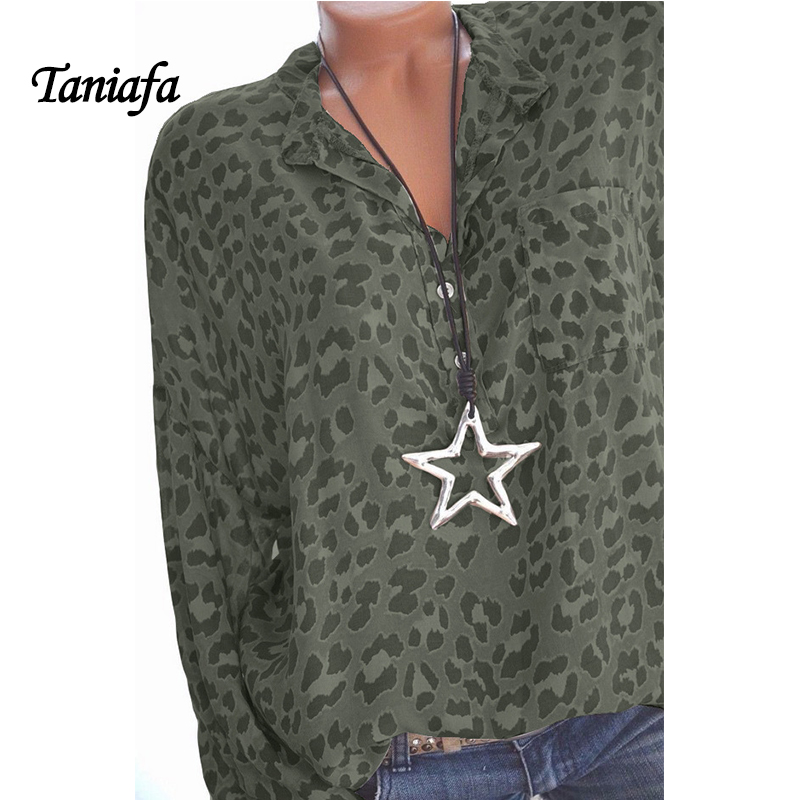 2018 New Arrival Women Blouses Leopard Print Long Sleeve Fashion V-neck Shirt Sexy Casual Office Ladies Blousas Tops Plus Size 4