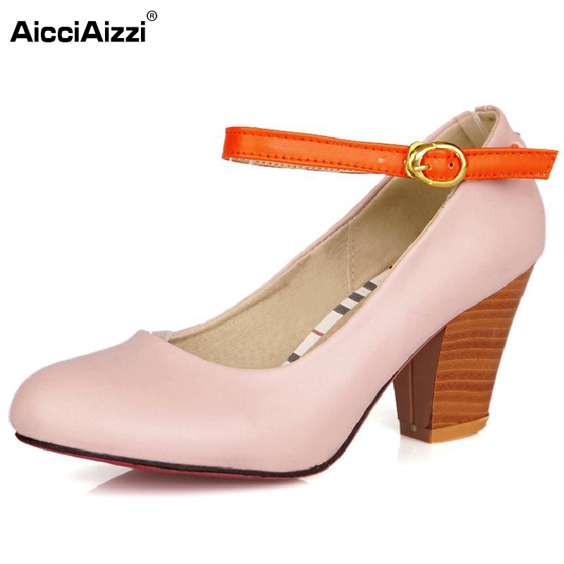 New Brand Women Vintage Ankle Strap High Heels Slip-on Women Pumps Sexy Round Toe Ladies Casual Heeled Shoes Women Size 34-43 2017 shoes women med heels tassel slip on women pumps solid round toe high quality loafers preppy style lady casual shoes 17