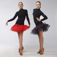 New Lycra Girls Latin Dance Costumes Senior Long Sleeves Top Short Skirt 2pcs Girls Latin Dance