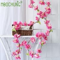 MOOCHUNG 6pcs Pack Artificial Cherry Blossom Vine Hanging Plants Fake Sakura Garland Wedding Wreath Home Garden Party Decor Pink