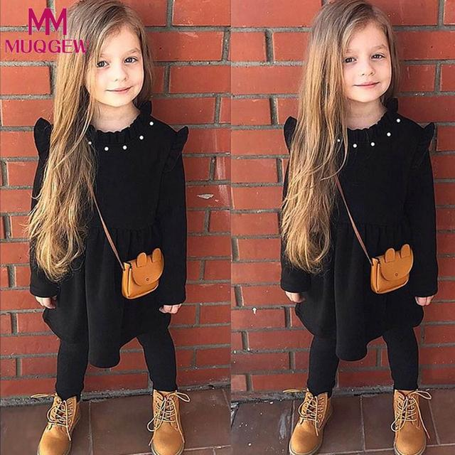 MUQGEW/2018 элегантное детское хлопковое теплое платье для маленьких девочек на осень-зиму, детское однотонное платье с длинными рукавами для девочек, платье принцессы