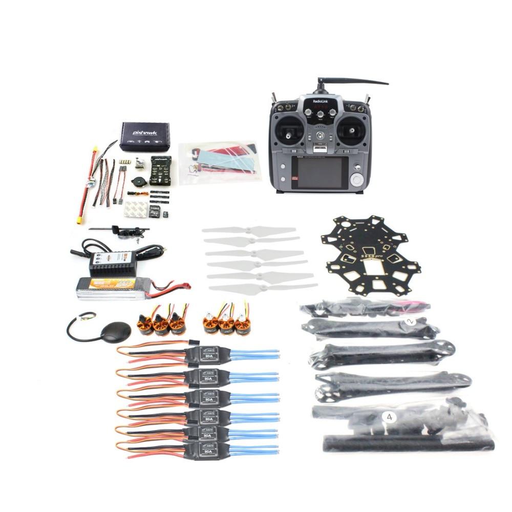 JMT DIY FPV Drone Hexacopter 6-axle Aircraft Kit HMF S550 Frame PXI PX4 Flight Control 920KV Motor GPS AT10 Transmitter