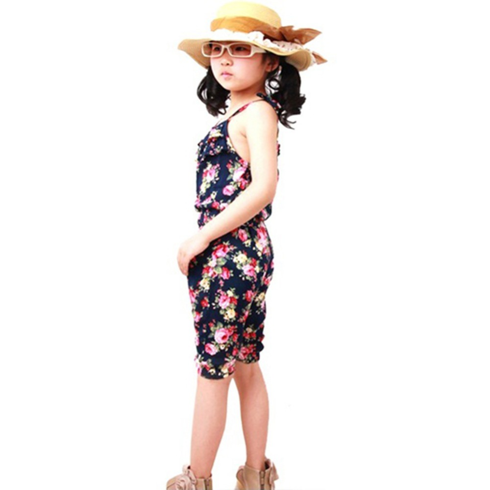 a0897b3d17a Kids Baby Girls Clothes Floral Hammock Sleeveless Jumpsuit Trousers Romper  Outfits Summer Clothes for Little Girls-in Overalls from Mother   Kids on  ...