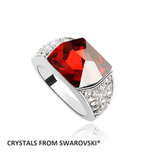 2016 Hot Big stone ring wedding jewelry With Crystals from SWAROVSKI color & size optional good for Christmas gift