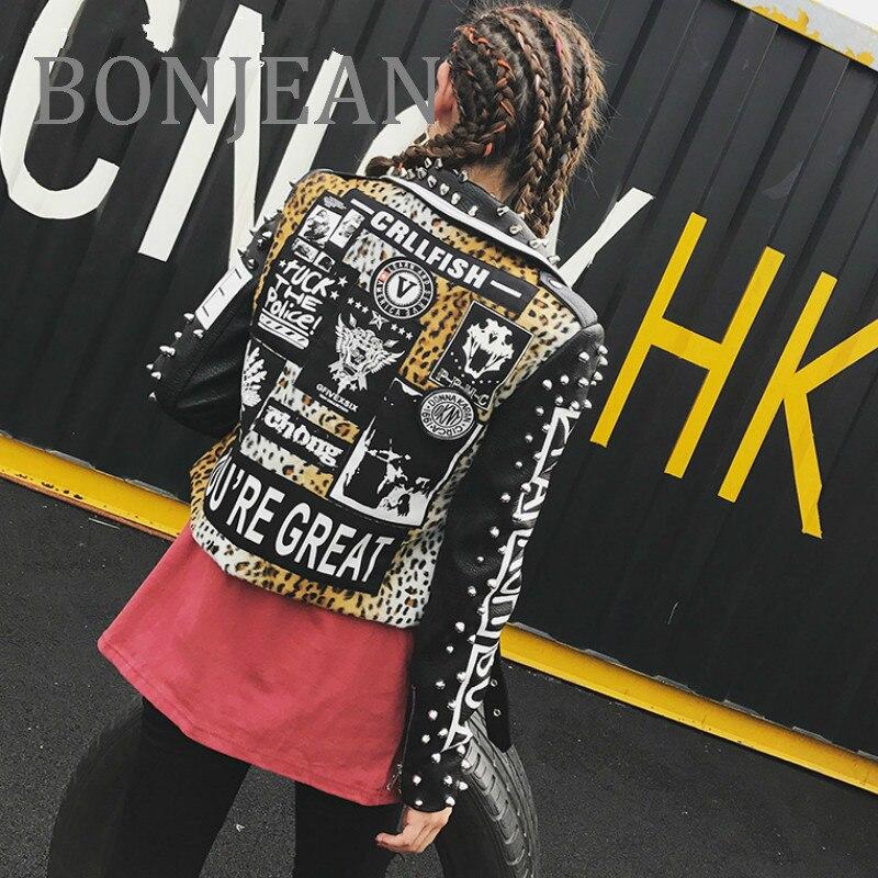 BONJEAN 2018 Rivet Decoration Coat Autumn Outerwear Letters Print PU Leather Jacket Women Short Coat Black Jackets & Coats BJ009