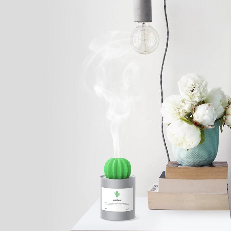 280ml Mini Humidifiers Air Humidifier USB Cactus Humidifier Aroma Gift Office Relieve Drying Household Products Baby Room Cute