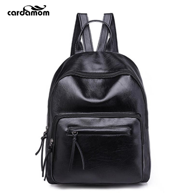 Black Fashion Soft Leather Backpacks 2018 New Women Simple Student Schoolbag Wear-resisting Ttraveling Shopping Small Backpacks рюкзаки zipit рюкзак shell backpacks