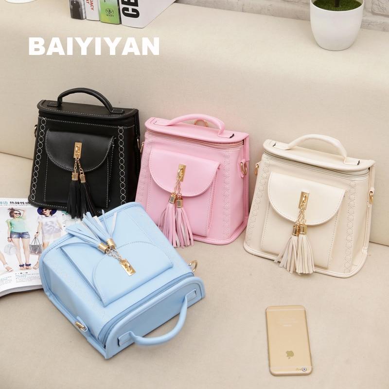 04ee767f814 2017 New Designer Women Simple Style Tassel Backpack Fashion PU Leather  Candy School Bag For Girls Shoulder Travel Bag