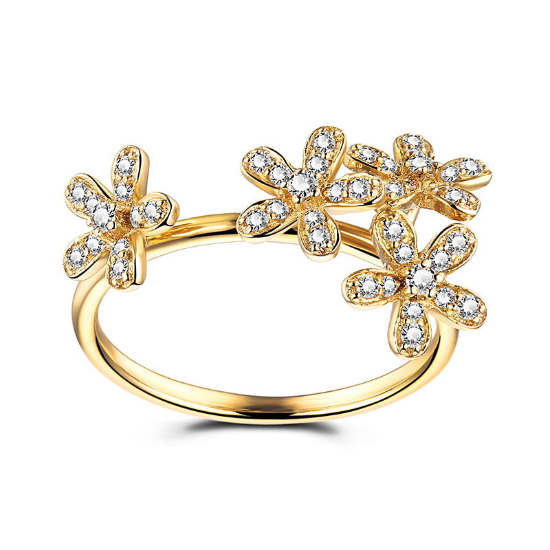 Solid 14k Yellow Gold Elegant SI/H Natural Diamonds Flower Women Engagement Wedding Ring Party Valentines day gifts