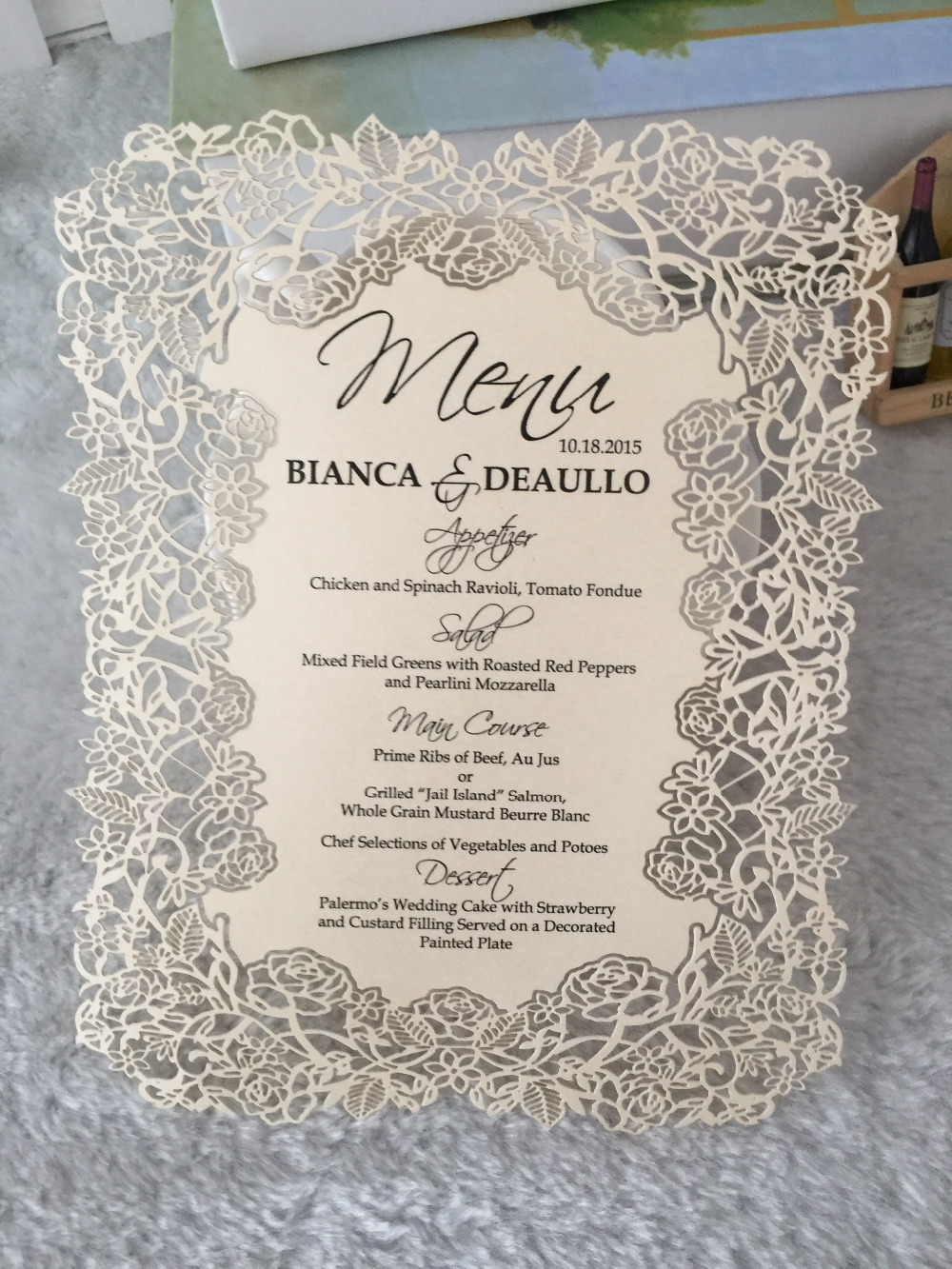 Online Shop Rose Lace Design European Wedding Invitation Cards With