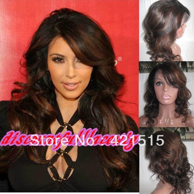 Human Hair Wigskim Kardashian Two Tone Long Wigs Highlights Wavy