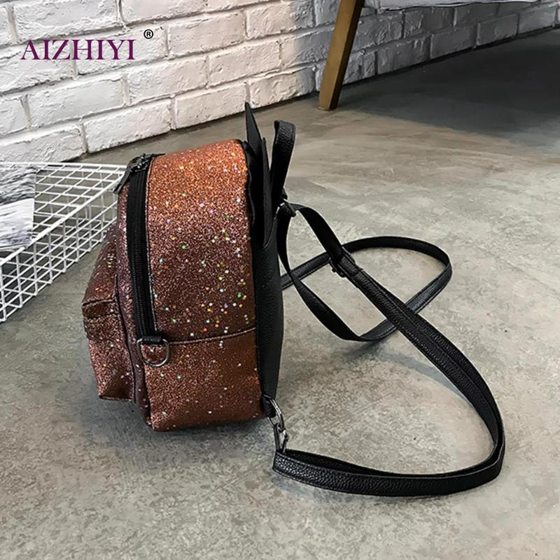 837592bfafda Shining Sequins Women Cute Small Backpacks PU Leather School Bags Girls  Princess Shoulder Bag 2018 New. sku  32867262988
