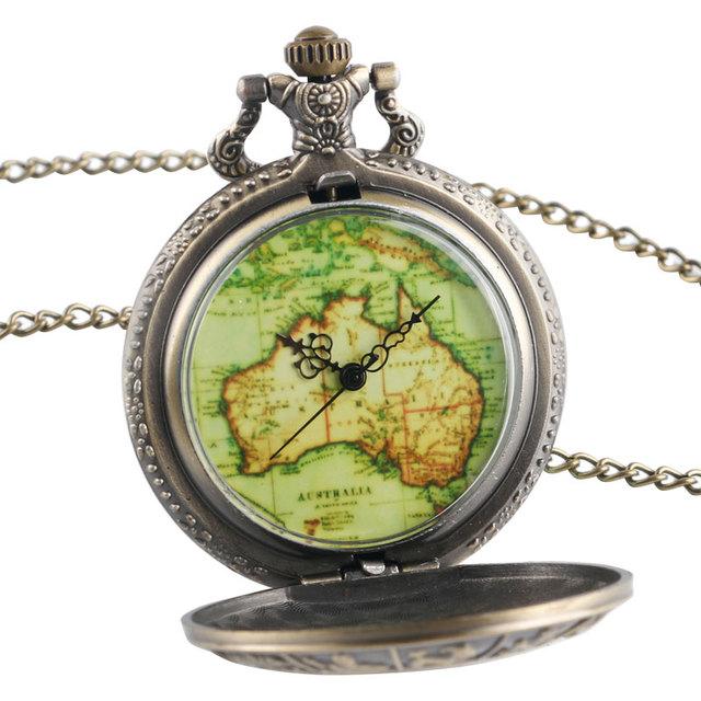 Copper Retro Twelve Constellations Case Green Australia Map Half Hunter Quartz Pocket Watch Necklace Pendant for Men Women Gifts
