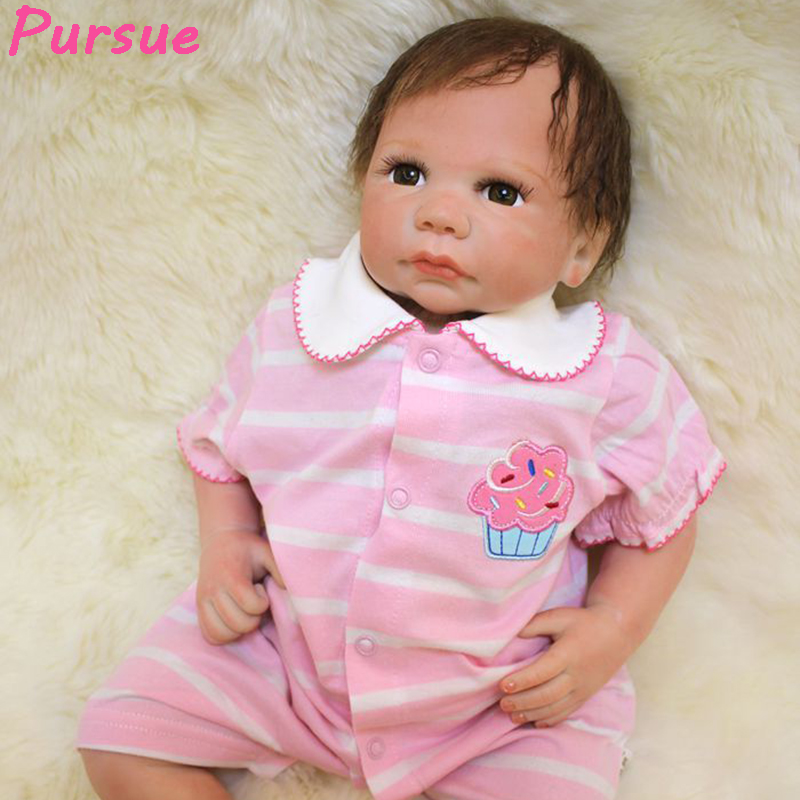 Pursue 53 cm Cheap Reborn Toddlers Girls for Adoption under 100 Dollars Silicone Baby Girl Dolls for Sale bebe reborn silicone